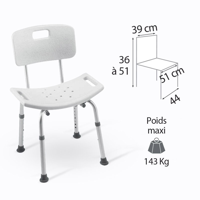 Chaise de douche cadiz invacare h296 for Chaise de douche